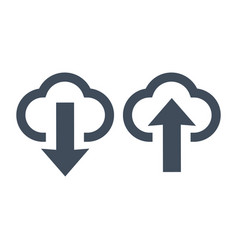 upload and download icons clouds and arrows vector image