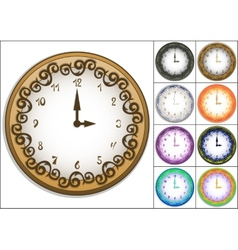 Wall clock decorated with ornate pattern vector image