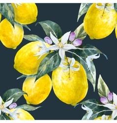 Watercolor lemon pattern vector