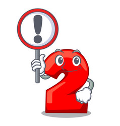 With sign cartoon paper number two on letter vector