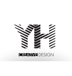 yh y h lines letter design with creative elegant vector image