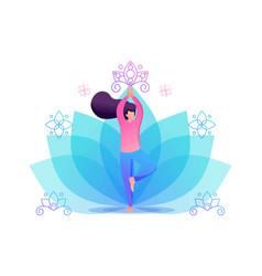 Yoga girl in pose asana on flower flat 2d vector