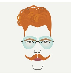 Young red hair hipster male with blue sunglasses vector image