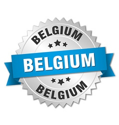 Belgium round silver badge with blue ribbon vector image