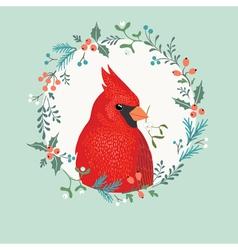 Christmas Cardinal bird vector image