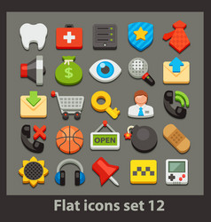flat icon-set 12 vector image vector image