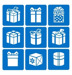 Gift box icons set on blue background vector image vector image