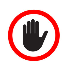 hand making a stop signal symbol vector image