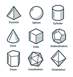 line isometric shapes vector image vector image