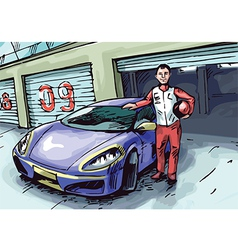 Racer and His Sport Car vector image vector image