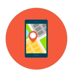 Smartphone with map on smartphone screen vector