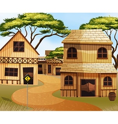 Western town with wooden buildings vector image vector image