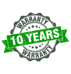 10 years warranty stamp sign seal vector image