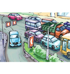 Detour of a Traffic Jam vector image vector image