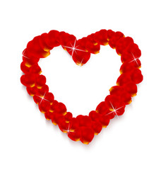 heart shape made of rose petals vector image vector image