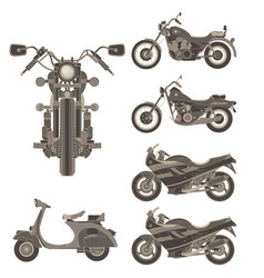 motorcycle icon set isolated side view flat vector image vector image
