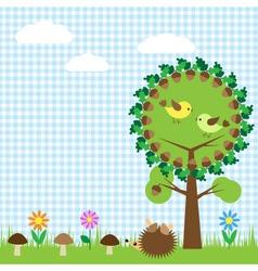 oak and birdsf vector image vector image