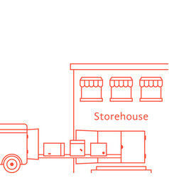 Red thin line storehouse building vector