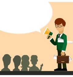 Businessman investor speaks in megaphone vector image