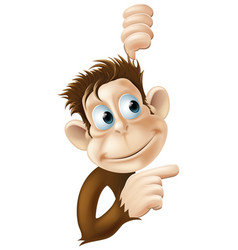 monkey pointing and looking vector image vector image