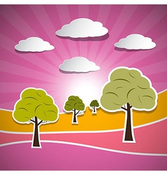 Paper Nature Pink Landscape with Trees Clouds and vector image