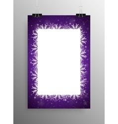 Poster frame falling snow violet background vector