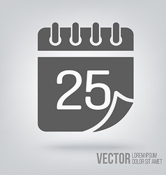 Calendar icon isolated black on white background vector image