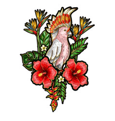 embroidered patches of parrot with flowers vector image vector image