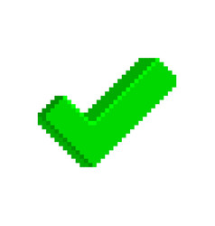 green check mark icon in pixelated style vector image vector image