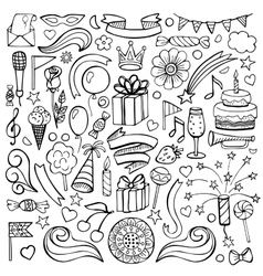 Happy birthday hand drawn set vector image