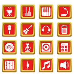 recording studio symbols icons set red square vector image