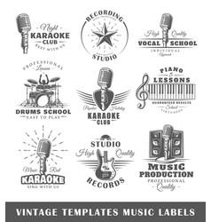 set of vintage musical labels templates vector image