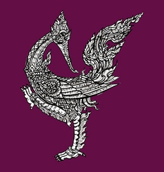 Thai traditional swan on purple background vector image