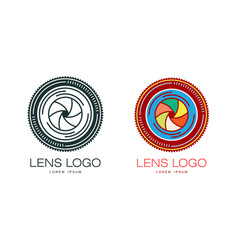 two variants of photo camera lens logo template vector image vector image