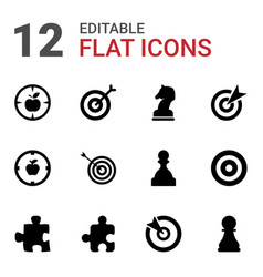 12 strategy icons vector image