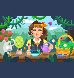 a girl watering flowers in the garden vector image