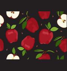 Apple seamless pattern and slice with seed vector