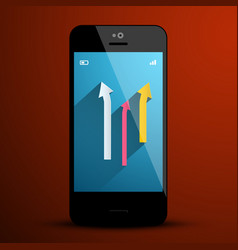 arrows on mobile phone screen vector image