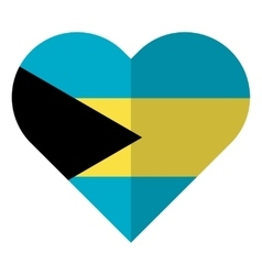 Bahamas flat heart flag vector