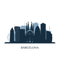 barcelona skyline monochrome silhouette vector image