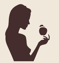 beautiful female silhouette in profile vector image vector image
