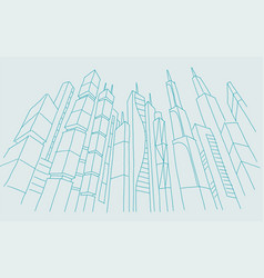Big city skyscraper sketch buildings blue line vector
