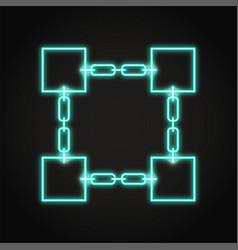 blockchain symbol icon in neon line style vector image