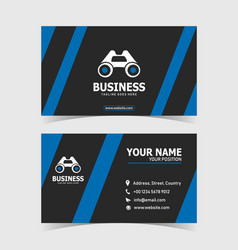 blue simple and clean business card print template vector image