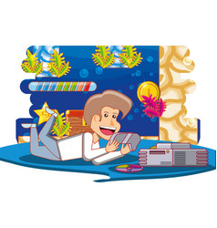 boy playing with video game console vector image