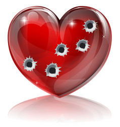 Bullet hole heart concept vector