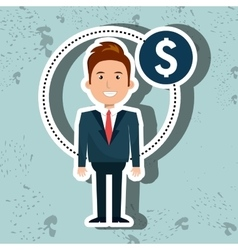 business person with money symbol isolated icon vector image