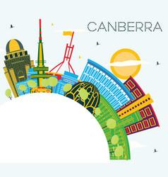 Canberra australia city skyline with color vector