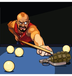 cartoon gangster man playing billiards vector image