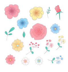 cartoon hand drawing set flowers and leaves vector image